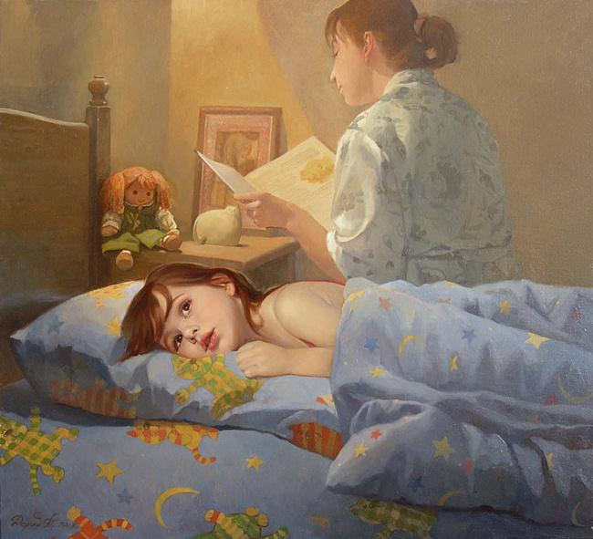 мама читает сказку на ночь